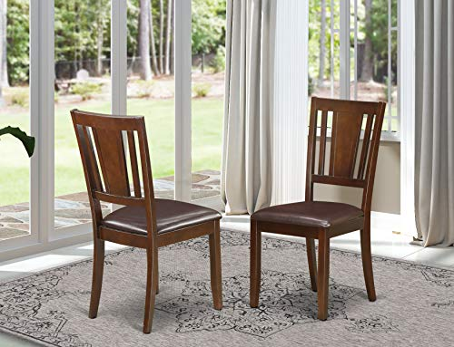 East West Furniture DUC-MAH-LC Dudley padded Parson Chair - Faux Leather Seat and Mahogany Solid wood Frame dining room chair set of two