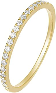 Greendou Fashion Jewelry 2mm 925 Sterling Silver Wedding Band Cubic Zirconia Half Eternity Stackable Engagement Ring Size 5-10 (6, Gold)