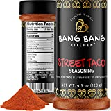 Bang Bang Kitchen Taco Seasoning | Street Tacos Spice & Dry Rub for Grilling Smoking BBQ & Cooking | Non-GMO Vegan Preservative & Gluten Free Chicken, Steak & Carne Asada | 1 4.5oz Bottle Made in USA