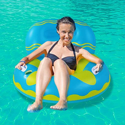 Flotador para adultos, flotador hinchable con respaldo y soporte para bebidas, juguete hinchable para adultos y niños, con asas para mayor seguridad (sofá azul)