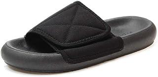 LJJYF Chaussures De Plage Homme,Sandales et Pantoufles en Velcro à Chevrons en Velours côtelé à Fond épais pour l'été-noi...