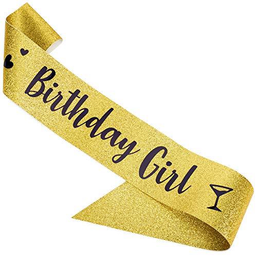 CORRURE - Faja de cumpleaños con purpurina metálica negra - Faja de cumpleaños para mujer - Banda de cumpleaños para cumpleaños de...