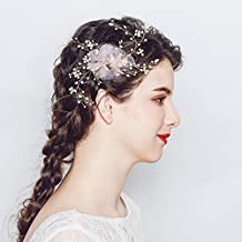 Miallo Hair Comb handmade Lace Flower with Rhinestone Wired of Wedding Party Hair Jewelry Hair Clips (Gold)