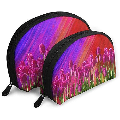 Tulip Garden Bolsas portátiles Bolsa de Maquillaje Bolsa de Aseo, Bolsas de Viaje portátiles multifunción Pequeña Bolsa de Embrague de Maquillaje con Cremallera