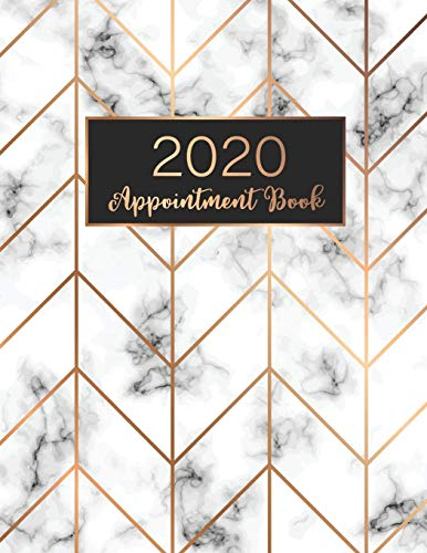 2020 Appointment Book: Marble Cover, 52 Weeks Daily Hourly Appointment Calendar With Times 15 Minute Increments Monday to Sunday with 8AM - 9PM, 2020 ... Book Daily Planner January - December 2020)