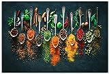 Hierbas y especias, cuchara Chile, lienzo, pintura, póster comida, cuadro artístico pared para pintu...