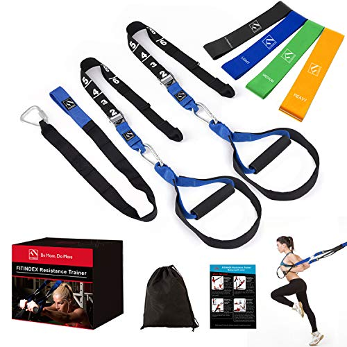 FITINDEX Bodyweight Resistance Trainer Kit, Home Resistance Training Straps with Handles, Fitness Resistance Trainer with Resistance Bands, Full Body Workout for Indoor or Outdoor Gym