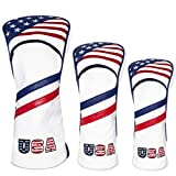 montela golf USA 1 3 5 Golf Headcover White Vintage Retro Patriotic Driver Fairway Wood Cover