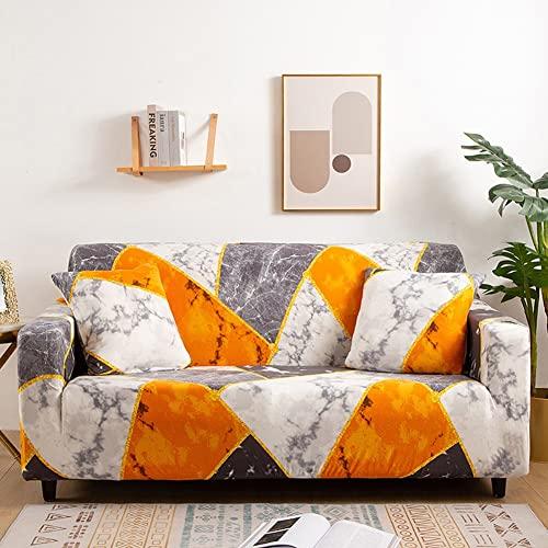 Mrzyzy Fundas Decorativas para Sofás, Impresión Geométrica Espacial Moderna Elastica Funda de Sofa 1/2/3/4 Plazas Antideslizante Funda Protectora para Sofá (Color : B, Size : 4 Seater (235-300cm))