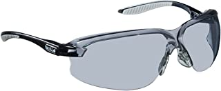 Bollé Safety 253-AX-40033 Axis Safety Eyewear with Black/Gray Polycarbonate + TPR Rimless Frame and Smoke Lens