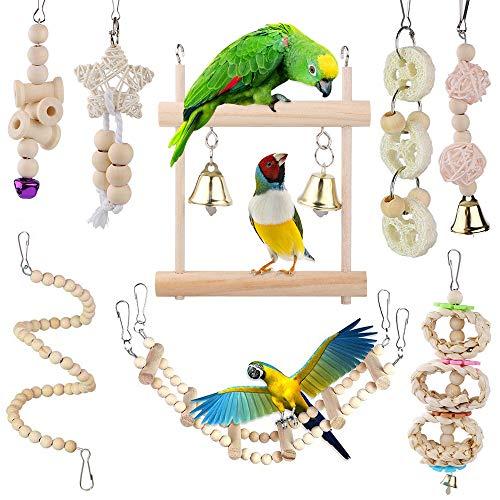 Vegena Vogelspielzeug,Wellensittich Spielzeug Schaukel Hängematte Kauspielzeug Vögel Spielzeug aus Naturholz für Sittiche Nymphensittiche,Sittichen,Aras,Papageien,Love Birds (#04)
