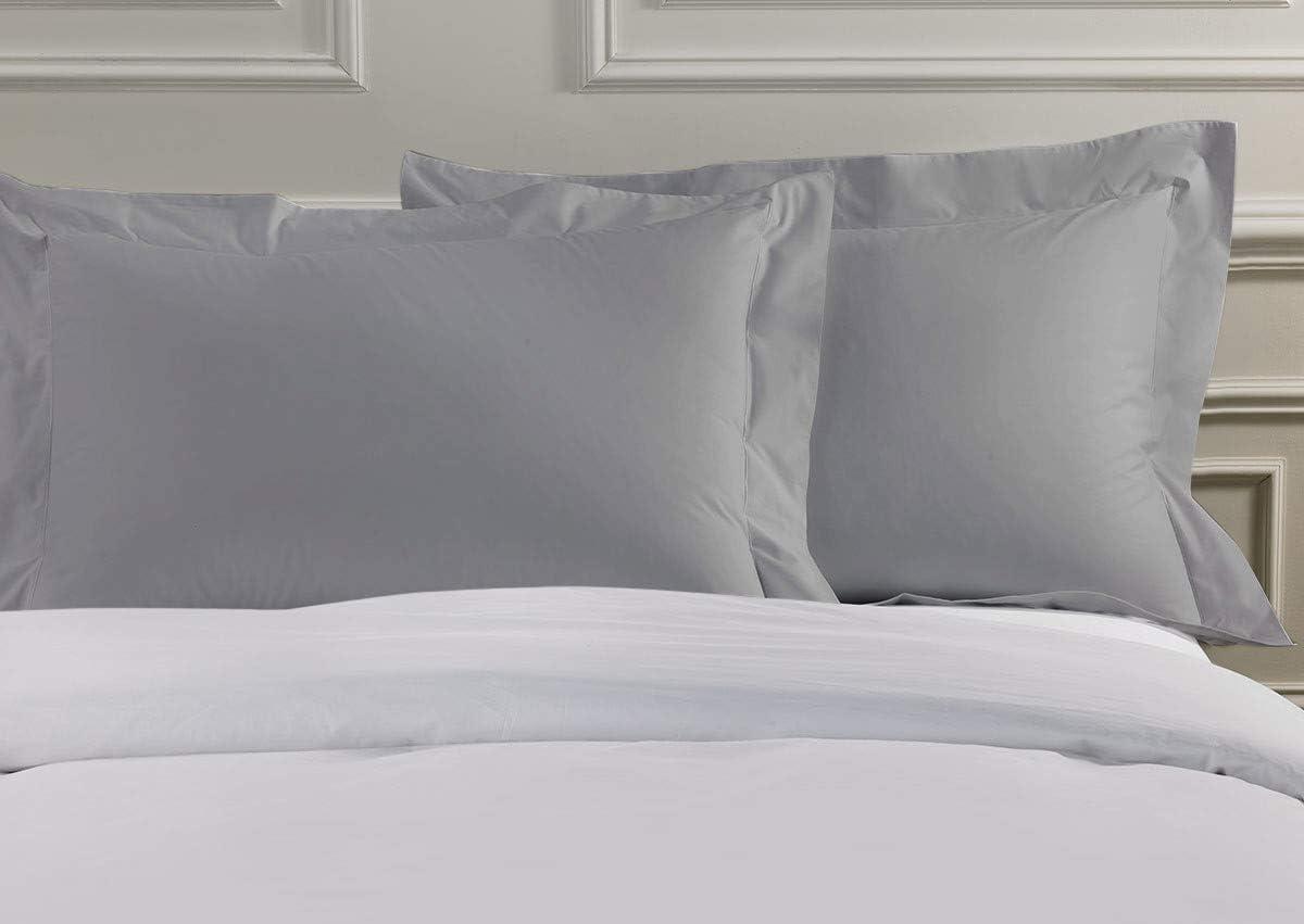 Bed Alter Fundas de Almohada Hecho de 100% algodón Egipcio con 400 número de Hilos Ropa de Cama de Calidad de Hotel (Juego de 2) Plata Rey de Oxford