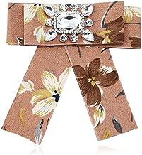 Women Rhinestone Striped Pearl Satin Ribbon Bow Tie Brooch Pin Wedding Jewelry | Color - #4