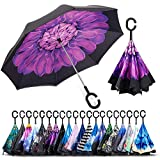 ALINK Inverted Umbrella, Reverse Folding Double Layer Inside Out Outdoor Rain Away Car