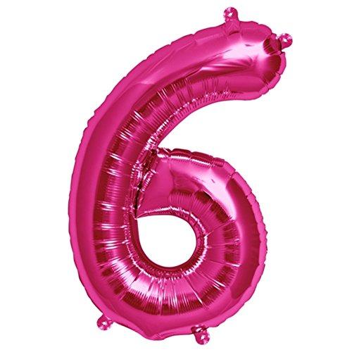 ballonfritz® Ballon Zahl 6 in Pink - XXL 40