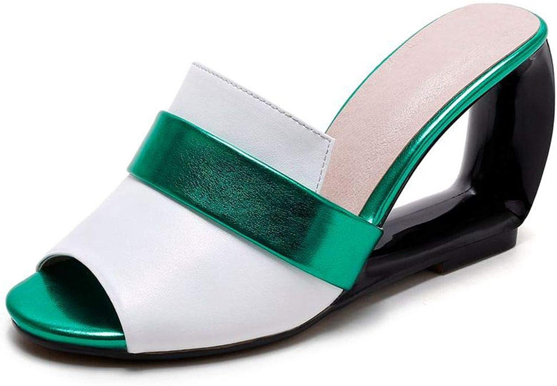 Vimisaoi Women's Vintage Peep Toe Wedge Heels Slide Sandals Slippers Sequins Mules shoes