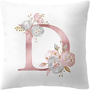 Peky Throw Pillow Covers, 26 Letters Pillow Case with Flowers Printed, Soft Cushion Pillowcase,Sofa Bedding Car and Home Decor Initial Pillow Cover (Letter_D)
