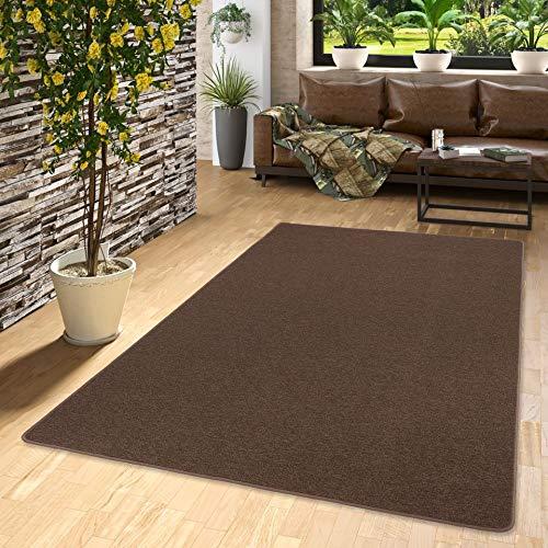 STRONG Feinschlingen Velour Teppich Dunkelbraun in 24 Größen, Größe:200x300 cm