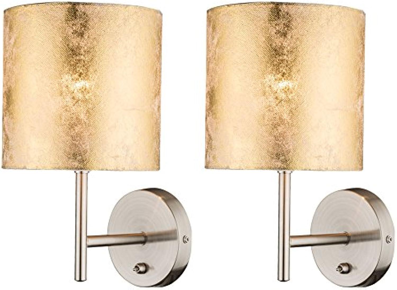 2er Set Wand Leuchten Strahler Textil Gold Nacht Licht Lese Lampen Beleuchtungen Schalter
