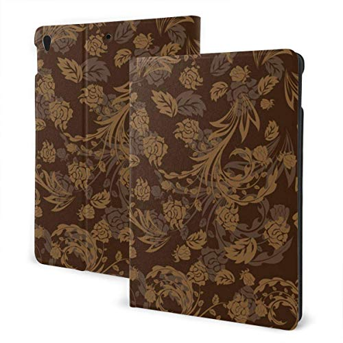 Case for iPad Flower Brown Background Pattern PU Leather Business Folio Shell Cover with Stand Pocket and Auto Wake/Sleep for iPad Air 10.5'