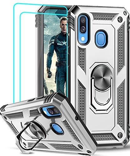 LeYi Funda Samsung Galaxy A40 con [2-Unidades] Cristal Vidrio Templado,Armor Carcasa con 360 Grados Anillo iman Soporte Hard PC y Silicona TPU Bumper Antigolpes Case para Movil A40,Plata