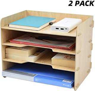 TWOHANDS Letter Tray & Stacking Supports - Paper Tray - 4 Tier Desk File Organizer and Storage for Students - School & Office Supplies - File Holder for Desktop - A4 Paper Rack(2 Pack)