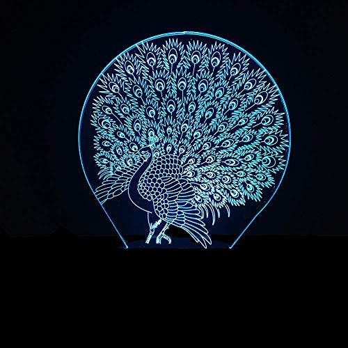 Peacock 3D Illusionslampe 3D Nachtlicht für Jungen Mädchen Tisch Schreibtischlampe 16 Farbwechsel Dekor Lampe Geschenke Geburtstagsfest Weihnachten für Teenager Freunde