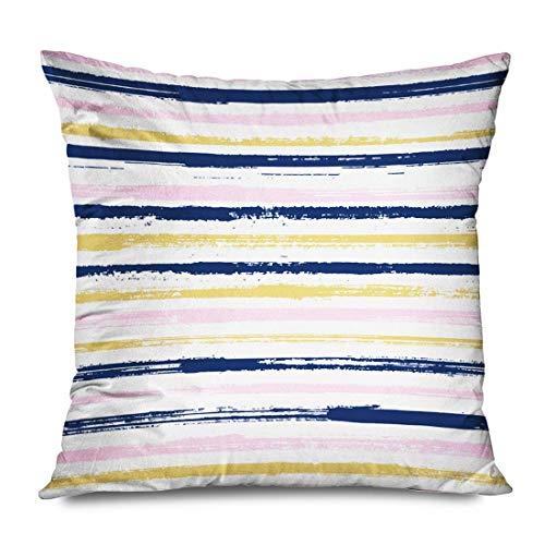 Mengghy Funda de almohada de 45 x 45 cm, diseño de marinero, color beige, a rayas, color oscuro, abstracto, colorido, pincel, colorido dibujado decorativo para sofá, funda de cojín con cremallera