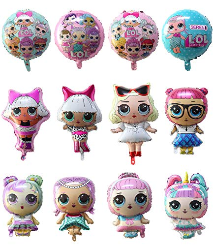 GRUSEMI 12 Pack LOL Party Balloons, Girls Surprise Birthday Doll Balloon for Children's Party Supplies Decorations