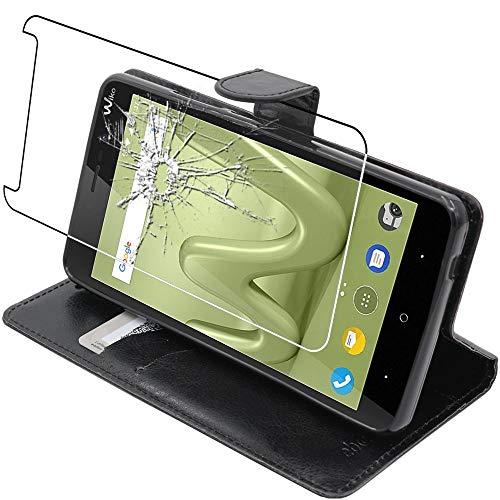 ebestStar - kompatibel mit Wiko Lenny 4 Plus Hülle Kunstleder Wallet Case Handyhülle [PU Leder], Kartenfächern, Standfunktion, Schwarz + Panzerglas Schutzfolie [Phone: 156 x 79 x 9.35mm, 5.5'']