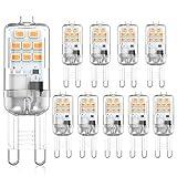 Ampoules LED G9 2W Blanc Chaud 3000K, 20W 10W Équivalent Halogène G9,AC220-240V, Culot G9 Sans Scintillantes, Paquet de 10 [Classe énergétique A +]