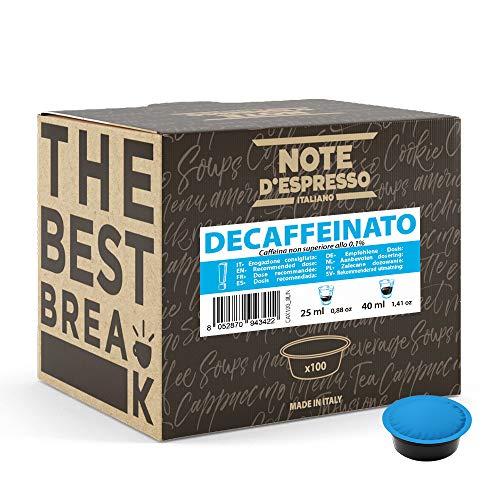 Note D'Espresso Capsule di Caffè per Macchine Lavazza e A Modo Mio, Decaffeinato, Confezione da 100 x 7 g