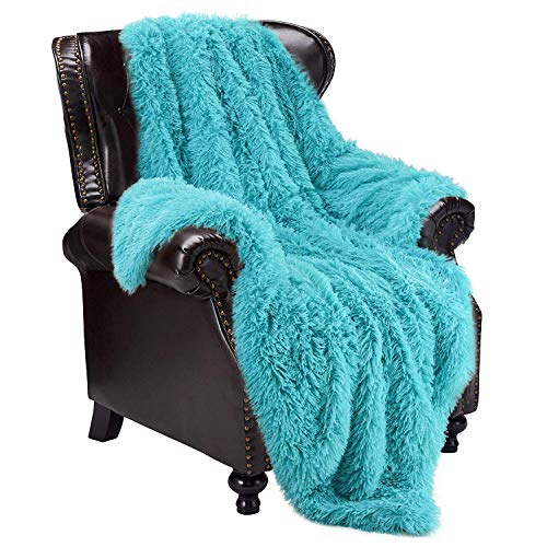 """junovo Super Soft Shaggy Longfur Faux Fur Blanket, Fuzzy Throw Blanket for Bed, Fluffy Cozy Plush Light Blanket, Washable Warm Furry Throw Blanket for Couch Sofa Chair Home Decor, 50""""x60"""" Teal"""