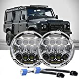 Defender 75w LED Driving Headlight - Led Headlight With High Low Beam DRL Daytime Running Light Car Driving Led Projector Replacement For Defender RHD 90 110 Headlamp 2pcs/Kit(Silver)