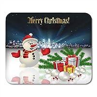 市雪だるまとギフトボックスのお祝いのマウスパッドビルディングボール抽象クリスマス