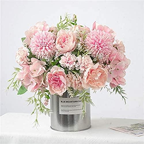 YYHMKB Flores Artificiales, Peonía Falsa, Hortensia de Seda, Decoración de Ramo, Clavel de plástico, Arreglo Floral Realista, 2 Piezas Rosa Claro