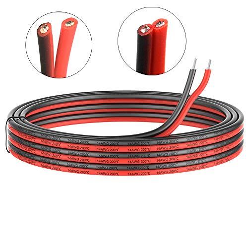 2.0mm² 14 AWG Silikon Elektrischer Draht Kabel anschließen 10 Meter [5 Meter schwarz und 5 Meter rot] Weich und flexibel aus verzinntem Kupferdraht Hohe Temperaturbeständigkeit 200 Celsius 600V