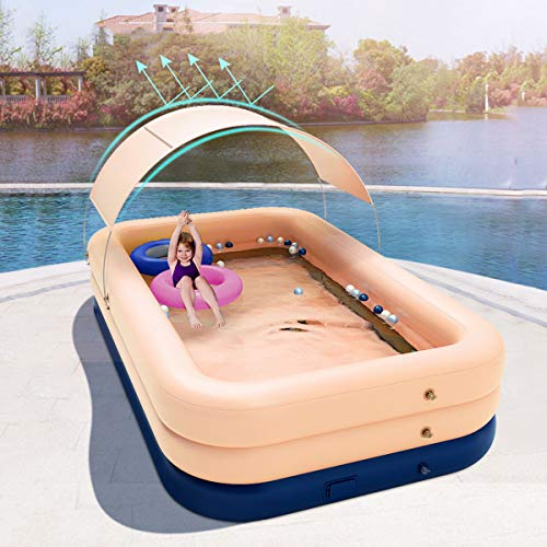 Above Ground Swimming Pool with Sun Shade Backyard Splash Paddling Pools,Fast Set Up Inflatable Pool (Large Size-8.5ft X 5.2ftx 27 In),OneSize