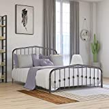 Beautiplove Metal Bed Frame Queen Size with Headboard and Footboard No Box Spring Needed,Mattress Foundation,Brown