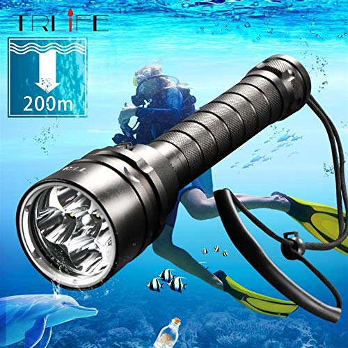 1pc Diving For LED Flashlight Torch 5*T6 L2 200M Underwater Waterproof Professional Dive Lantern Lamp For Fishing Hiking Cycling &Emergency ( Body Color : 3L2 (12000LUMS) , Emitting Color : Option A )