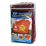 Universal Stretch Smaller Seat Covers - 4 Pack Fabric Cushion Slipcovers and Protectors for Smaller Chair Types - Burgundy - by EZ Cover