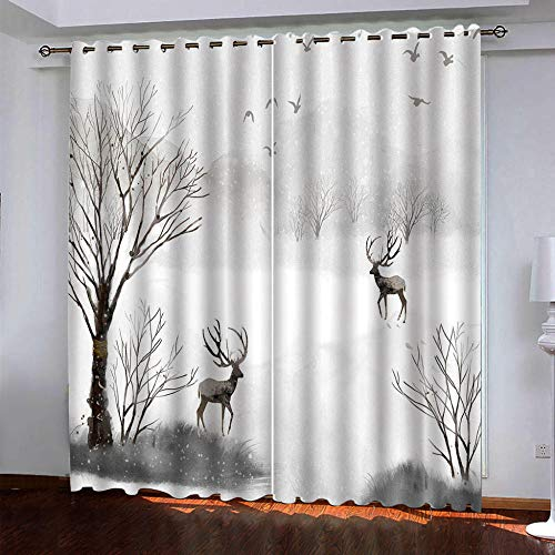 MENGBB Blackout Curtain for Kids Girls Microfiber 63x71 inch Jungle elk snow scene Thermal Insulated 95% Blackout Kitchen Bedroom Living Room Window Eyelet Curtains