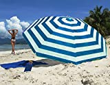 The Magic Toy Shop Garden Beach Patio Tilting Tilt Multi Coloured Umbrella Parasol Sun Shade Protection UPF40 (Blue Striped)