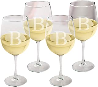 Personalized White Wine Glasses - Monogrammed Wine Glass Set of 4