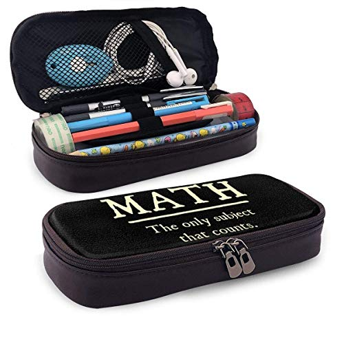 Yuanmeiju New Style Math The Only Subject That Counts Multifunction Canvas Leather Estuche Pen Bag Makeup Pouch