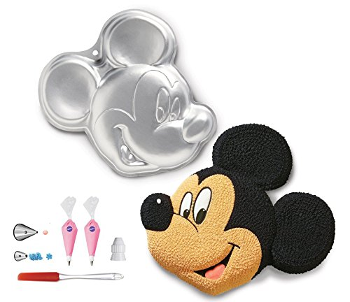 Wilton - Molde para tartas (6 unidades), diseño de Mickey Mouse, 3 y 16 puntas decorativas y acoplador, bolsas desechables para decoración de pasteles y espátula de glaseado