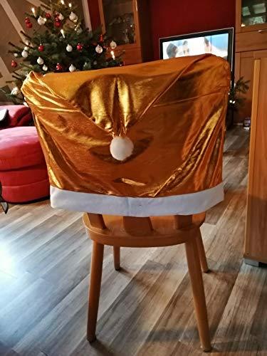 Sachsen Versand 8 Stück Gold-Farben-Weihnacht-s-Stuhl-Husse-Set,Stuhlhusse,Weihnacht-Nikolaus-Mütze,Weihnachts-Deko-Fest-Tags-Schmuck