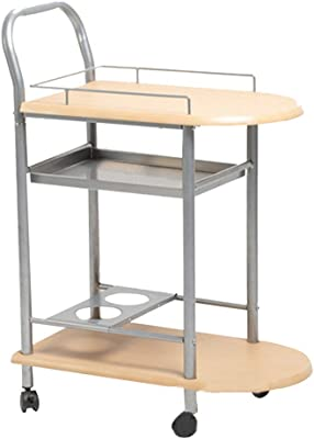 Serving Trolley Cart Kitchen Restaurant 2 Tier Aluminum Alloy Solid Wood Movable with Brake Plastic Wheel with Wine Rack, Carrying Capacity 20 Kg, 2 Colours (Color : Yellow, Size : 60 x 35 x 84 cm)