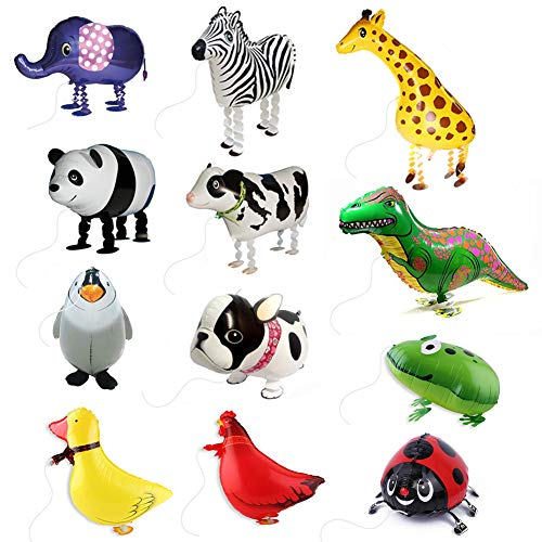 SwirlColor Helium Ballons für Kinder gehende Haustier-Ballon-Kinder-Kinder Ballon-Geschenke Party-Tier-Folien-Ballone (12 Stück)