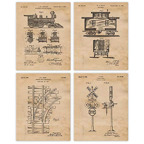 Vintage Railroad Train Patent Poster Prints, Set of 4 (8x10) Unframed Photos, Wall Art Decor Gifts Under 20 for Home, Office, Garage, Man Cave, Shop, School, College Student, Teacher, Conductor Fan